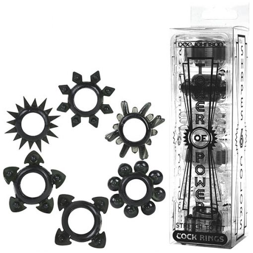 Tower of Power - Black Cock Rings - Set of 6