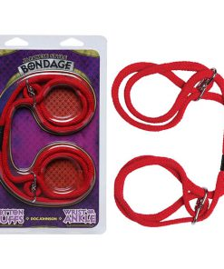Japanese Style Bondage Cotton Cuffs - Red Rope Restraints