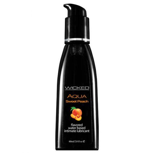 Wicked Aqua Sweet Peach - Sweet Peach Flavoured Water Based Lubricant - 60 ml (2 oz) Bottle
