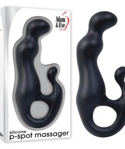 Adam & Eve Silicone P-Spot Massager - Black 17.8 cm (7'') Prostate Massager