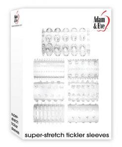 Adam & Eve Super-Stretch Tickler Sleeves - Clear Penis Sleeves - Set of 7