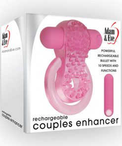 Adam & Eve Rechargeable Couples Enhancer - Pink USB Rechargeable Cock & Balls Ring