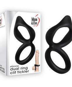 Adam & Eve Silicone Dual Ring Clit Tickler - Black Cock & Ball Rings