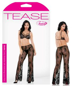 Tease Giselle Cutout Bralette with Matching Lace Pant - Black - L/XL Size