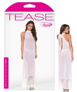 Tease Layla Halter Neck Gown & G-String - White - One Size
