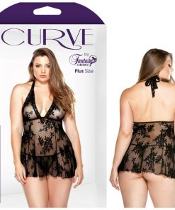 Curve Claudia Stretch Lace Chemise and Matching G-string - Black - 3X/4X Size