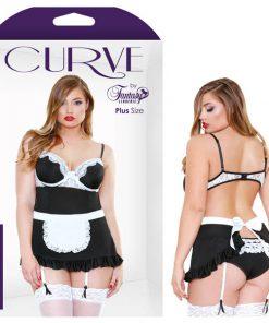 Curve Night Service Maid Costume - Black - 3X/4X Size
