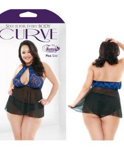 Curve Tessa Halter Neck Babydoll & Full Back Panty Set - Sapphire/Black - 1X/2X Size
