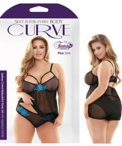 Curve Sydney Cutout Babydoll & Panty Set With Applique Details - Black - 3X/4X Size