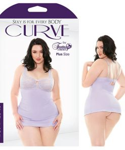 Curve Abigail Chemise & G-String - Lilac Purple - 3X/4X Size