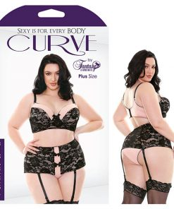 Curve Margot Bra & High Waist Panty - Black/Petal Pink - 1X/2X Size