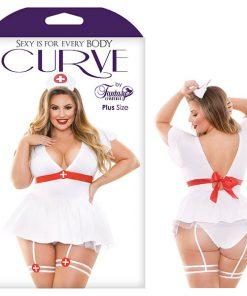 Curve Bedside Nurse Costume Set - White - 3X/4X Size