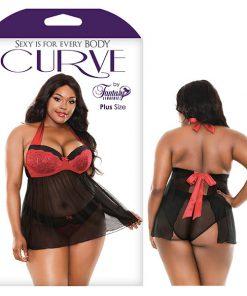 Curve Sophia Halter Babydoll & Panty - Black/Red - 3X/4X Size