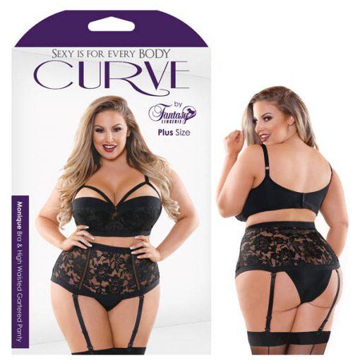 Curve Monique Bra & High Waisted Panty - Black - 1X/2X Size