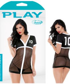 Play Team Playa Jersey & G-String Set - Black/White - XL Size