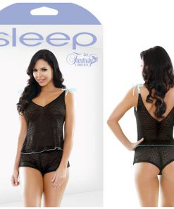 Sleep Nadia Geo Lace Shoulder Tie Top & Shorts Set - Black - S/M Size