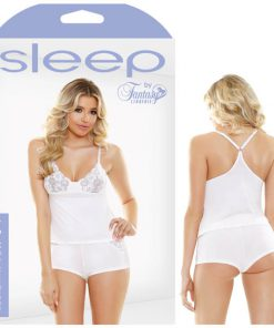 Sleep Ivy Cami & Cutout Lace Shorts Set - White - M/L Size