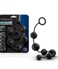 Performance 16'' Silicone Anal Beads - Black 40 cm Anal Beads