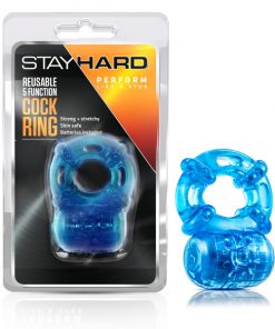 Stay Hard - Reusable 5 Function Cockring - Blue Vibrating Cock Ring