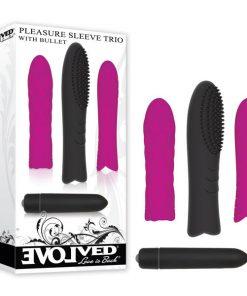 Pleasure Sleeve Trio With Bullet - Black Bullet with 3 Interchangeable Sleeves