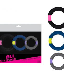 All Night Stand - Coloured Cock Rings - Set of 3 Sizes