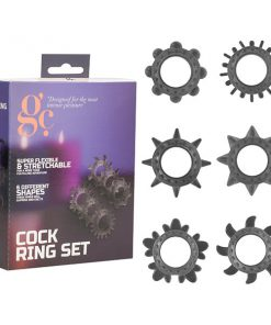 GC. Cock Ring Set - Black Cock Rings - Set of 6