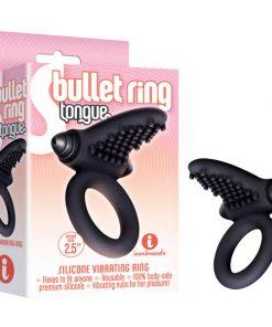 S-Bullet Ring - Tongue - Black Vibrating Cock Ring