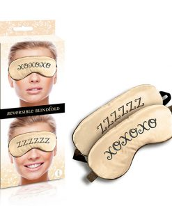 The 9's Reversible XOXO/ZZZ Satin Blindfold - Padded Reversible Blindfold