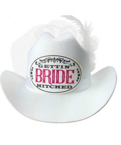 Gettin' Hitched Bride Cowboy Hat with Veil - White Hen's Party Novelty