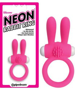 Neon Rabbit Ring - Pink Vibrating Cock Ring