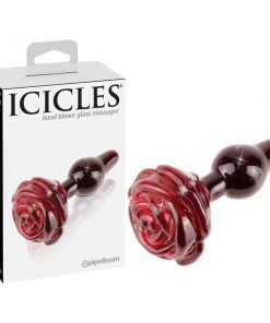 Icicles #76 - Red 6.1 cm (2.4'') Glass Butt Plug with Rose Tail