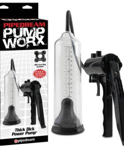 Pump Worx Thick Dick Power Pump - Black/Clear Penis Pump