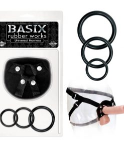 Basix Rubber Works Universal Harness - Black Strap-On Harness (No Probe Included)