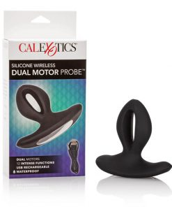 Silicone Wireless Dual Motor Probe - Black 7.5 cm (3'') USB Rechargeable Vibrating Anal Plug