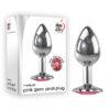 Adam & Eve Pink Gem Anal Plug - Medium - Silver Medium 8.2 cm Metal Butt Plug with Pink Gem