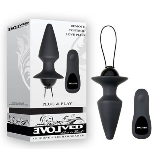 Evolved Plug & Play - Black USB Rechargeable Butt Plug with Wireless Remote