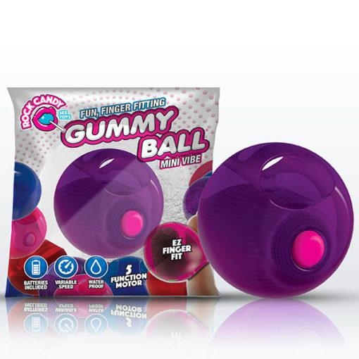 Rock Candy Gummy Ball - Jelly Bean Purple Disposable Finger Stimulator