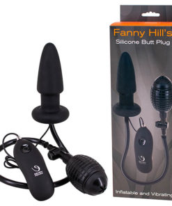 Seven Creations Fanny Hills - Black Silicone Inflatable & Vibrating Butt Plug