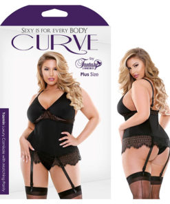 Curve Yasmin Luxury Camisole with Matching Panty - Black - 1X/2X Size
