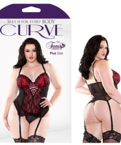 Curve Rosita Contour Cup Bustier & G-String - Red/Black - 1X/2X Size