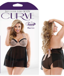 Curve Serena Halter Tie Babydoll with Molded Cups & Panty - Skin/Black - 1X/2X Size