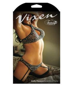 Vixen Guilty Pleasure Bralette & Panty - Black - One Size