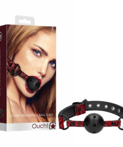 Ouch! Luxury Breathable Ball Gag - Burgundy Mouth Restraint