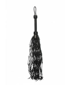 Ouch! Pain Leather Barbed Wire Flogger - Black Leather Whip