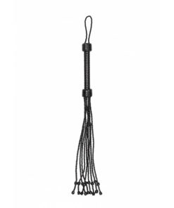 Ouch! Pain Short Leather Braided Flogger - Black Leather Whip