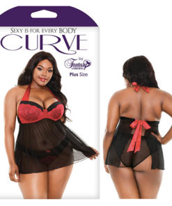 Curve Sophia Halter Babydoll & Panty - Black/Red - 1X/2X Size