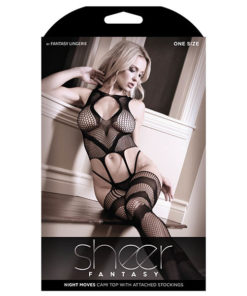 Sheer Fantasy Night Moves Cami Top With Attached Stockings - Black - One Size