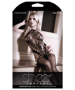 Sheer Fantasy Goodnight Kiss Teddy with Attached Stockings - Black - One Size