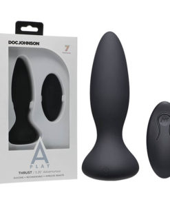 A-Play - Thrust - Adventurous - Rechargeable Silicone Anal Plug - Black USB Rechargeable Butt Plug with Remote