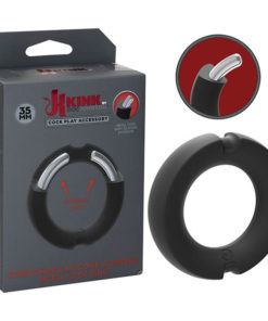KINK HYBRID Silicone Covered Metal Cock Ring - Black Cock Ring - 35 mm